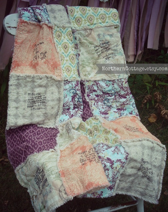 Wedding Guest Book // Rag Quilt SPeCiaL DaY by NorthernCottage