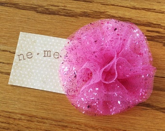 Ballerina Pink Sparkle Tulle Puff Hair Clip