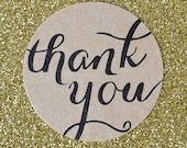 Thank You Stickers Packs - Round Kraft Paper Labels & Calligraphy Font - 24 Stickers Per Pack