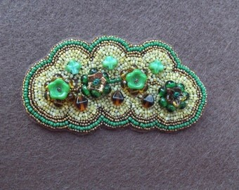 "Hand beaded barrette...one of a kind.....approximately 3 1/2"" X 1 3/4"""