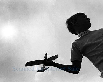 1950s Boy with Model Glider Airpane Silhouette Photo