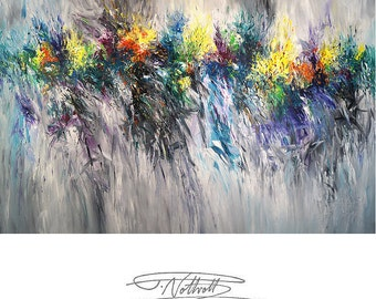 """Very Large Abstract Painting 78.4 """" x 51.2 """" Original XL Acrylic, unstrechted,  Artist Peter Nottrott."""