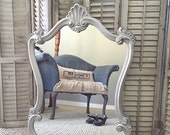 Large Silver Mirror, Ornate Wall Hanging Mirror, Vintage Satin Nickle Baroque Mirror, Hollywood Regency Bathroom Mirror Shabby Chic Salon