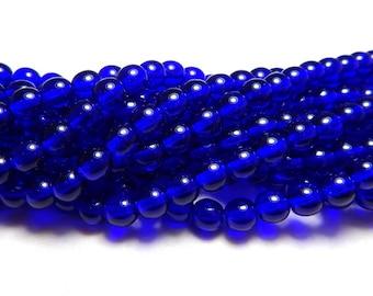 6mm Cobalt Czech Beads, Purple Blue Beads, Cobalt Beads, Transparent Beads, 6mm Round Beads, 6mm Glass Beads, 6mm Czech Beads T-015B