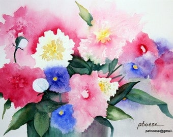Pink Peonies is an archival matted print of an original watercolor painting