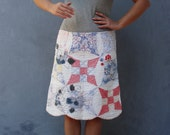 Quilted Embroidered Skirt Vintage Preloved fabric Clothing Embroidery US size 12/14 large EU 42/44