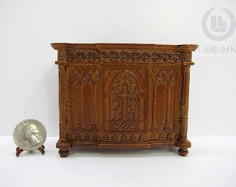 1:12 Scale Miniature Church Desk For Doll House(Finished In  Walnut)