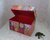 Hallmark Recipe Tin 70s Pink, Orange, and Purple Fruits and Veggies Metal Recipe Box by Hallmark Metal File Box with Lid Container with Lid