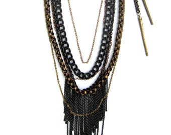 Mixed Chain Fringe Necklace