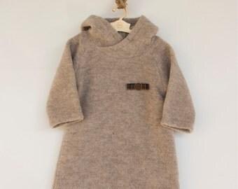 WINTER FINAL SALE/Merino wool baby dress / Woolen hoody dress/ Eskimosa dress/404FW15