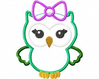 Baby girl owl applique design download - 5x7 hoop size