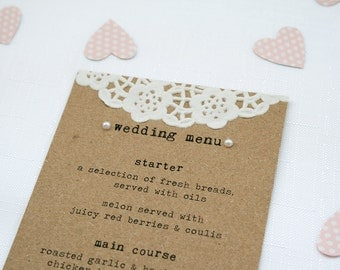 Rustic Doily and Pearl Wedding Menu - Eco Kraft, Shabby Chic