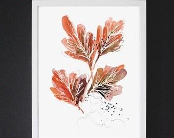 Tangle in Orange - Watercolor Art Print