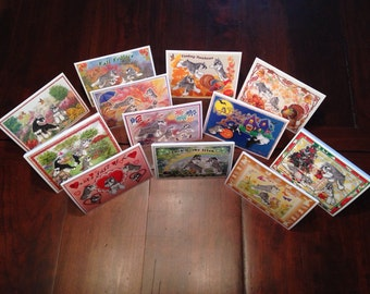 Set of Schnauzer Notecards - Monthly and Holiday Cards