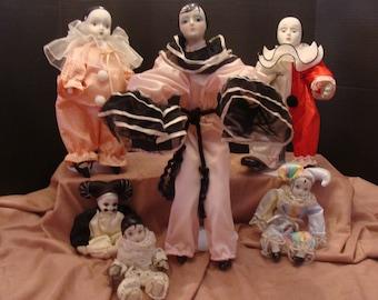 6 Porcelain Mime/Jester Clowns