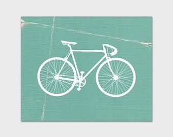 Bicycle Printable, Bike Print, Teal Printable Art, Instant Download, Retro Bicycle Wall Art, Home Decor
