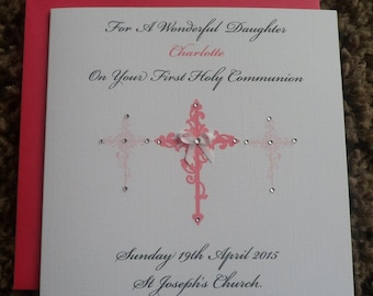"""Handmade Personalised 6"""" Square Holy Communion Card"""