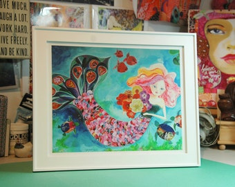 Mermaid Art Print. Giclee. Mermaid Wall Decor. 14x11