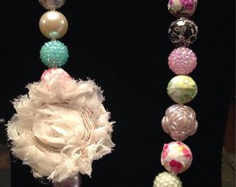 Floral print bubblegum bead necklace