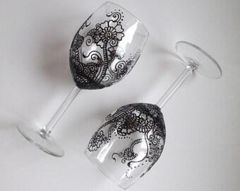 Henna Inspired Wine Glasses (Black)