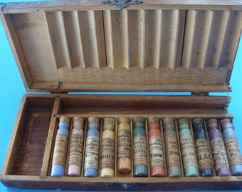 China Paint Fry's Vitrifiable Color paint Set for China Vintage paint Wooden case