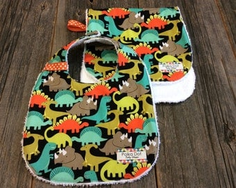 Bib and Burp Cloth Set - Baby Boy Gift Set - Dinosaurs - Terry Cloth Bib and Burpie - 100% Cotton - Gift Wrapped
