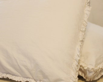 Cotton Double Ruffle Euro Sham with gusset 25 X 25 X 2 vintage white bottom zipper Shabby Chic
