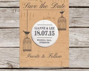 Vintage birdcage design Save the Date Magnet