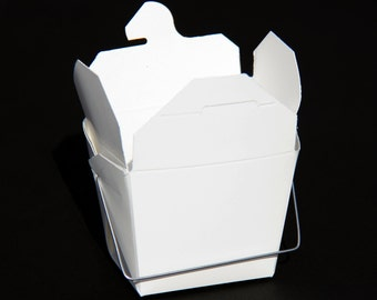 1/2 Pint White Take Out Boxes with Wire Handles - 10 Quantity