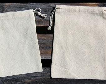 "Small (4"" x 5-3/4"") Muslin Drawstring Bags - 6 Quantity"