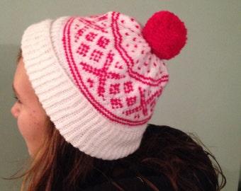 Hand Knitted fairisle pom pom hat