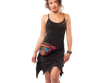 BLACK PIXIE DRESS, organic cotton dress, gothic fairy dress minidress, psy trance clothing, festival wear, plus size xxl xl psy dress, pixie