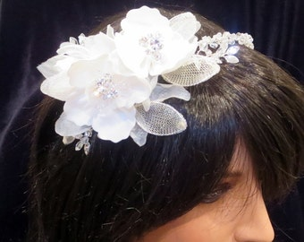 Bridal flower headband, Wedding headpiece, Flower headpiece, Bridal headpiece, Side accent headband