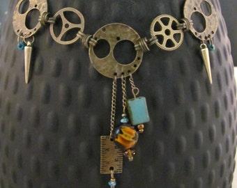 Steampunk antique brass handmade necklace