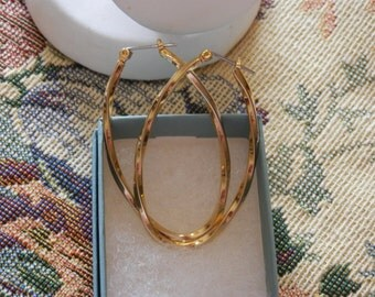 Vintage Goltone Spiraled Oval Shaped Hoop Leverback Earrings Designed By Ward & Eis Michigan Ex. Condition