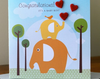 Greeting Card. Congratulations! New Baby Card. Elephants and Hearts.