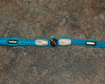 Blue Hemp Choker Surfer Necklace --Bone Colored and Silver Beads--HS-48