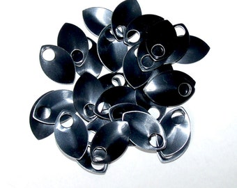 50 Black SMALL Anodized Aluminum Scales- Black Scales, Leaf Shape, Jewelry Supply, Scalemail Supply, Dragon Scale