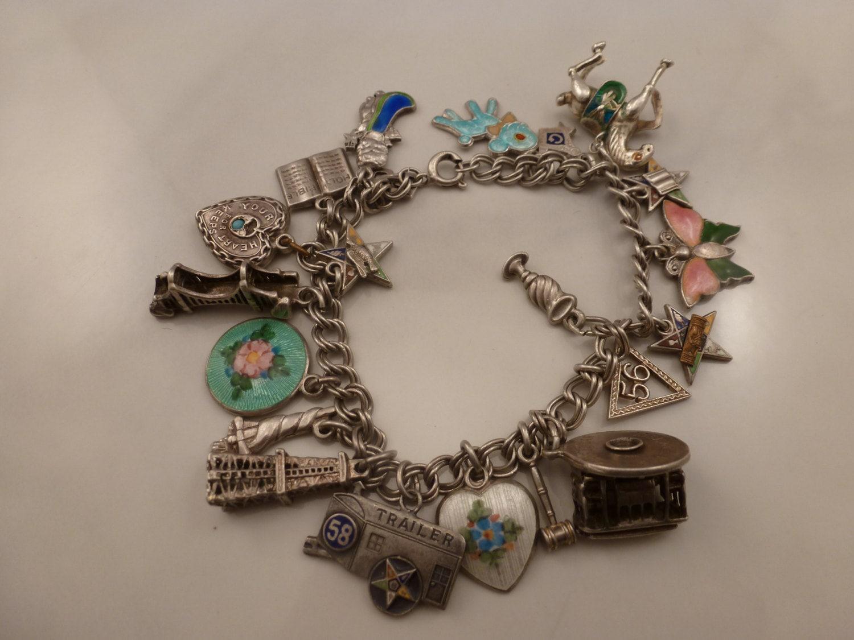 antique sterling charm bracelet enamels charms