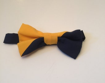 Navy and Gold Bow tie. Adjustable. Fits ages 3 and up.