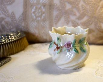 Small  Belleek vase from the 1980's.  Lovely item for milady's vanity.