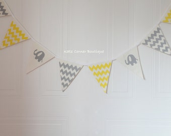 Grey and yellow elephant baby shower nursery bunting, elephant birthday, banner