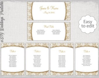 """Rustic Seating chart template """"Burlap & Lace"""" printable seating chart cards DIY ecru wedding table plan YOU EDIT Word instant Download"""