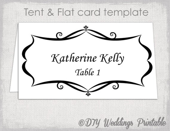 Place card template tent and flat name card templates for Table placement cards templates