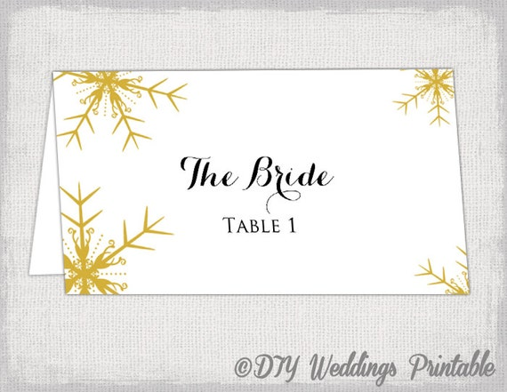 snowflake place card template gold winter wedding place cards. Black Bedroom Furniture Sets. Home Design Ideas