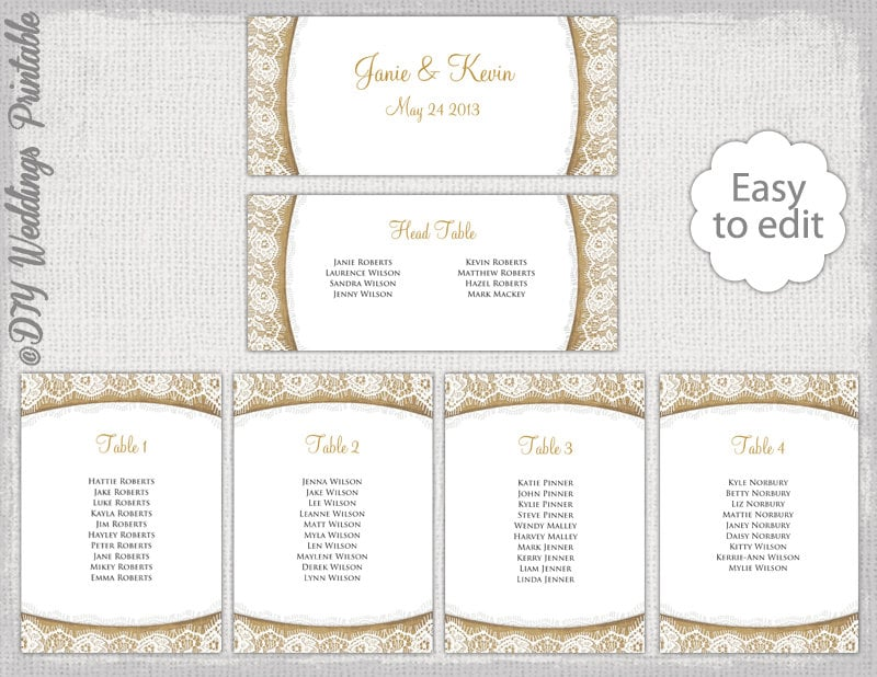 Rustic Seating chart template Burlap Lace – Seating Chart Template Word
