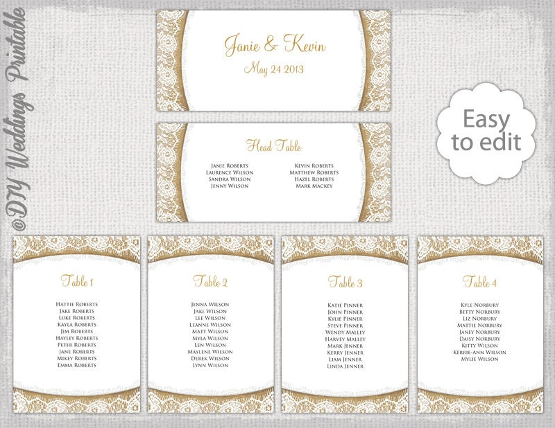 Rustic Seating Chart Template Burlap  Lace