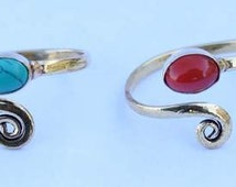 TOE RING, Coral toe Ring, Stone toe ring,Brass Toe ring, Spiral Toe ring