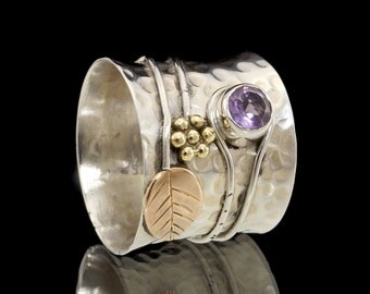 Amethyst & 925 Sterling Silver Ring with Brass Flower and Leaf Detail #033