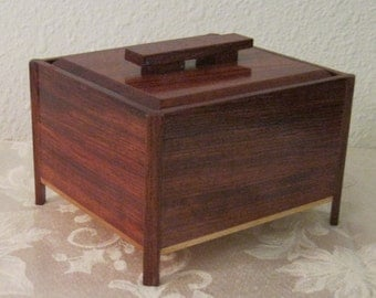 Bubinga and maple wood keepsake box.
